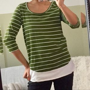 Stripe Olive Green Layered Look Top S